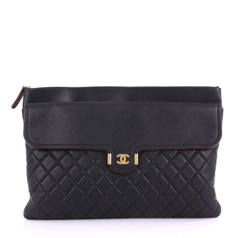 58f751b24bf9 Chanel Archi Chic O Case Clutch Quilted Grained Calfskin 3859740 – Rebag