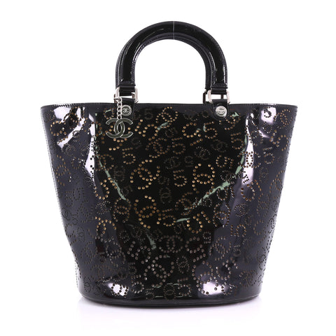11ea0628a027 Chanel CC No.5 Shopping Tote Perforated Patent Medium Black 3859767 – Rebag
