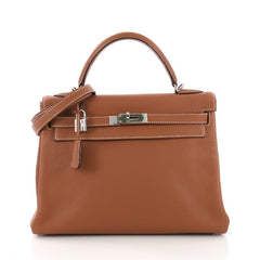 Hermes Kelly Handbag Brown Clemence with Palladium Hardware 32 Brown 385979