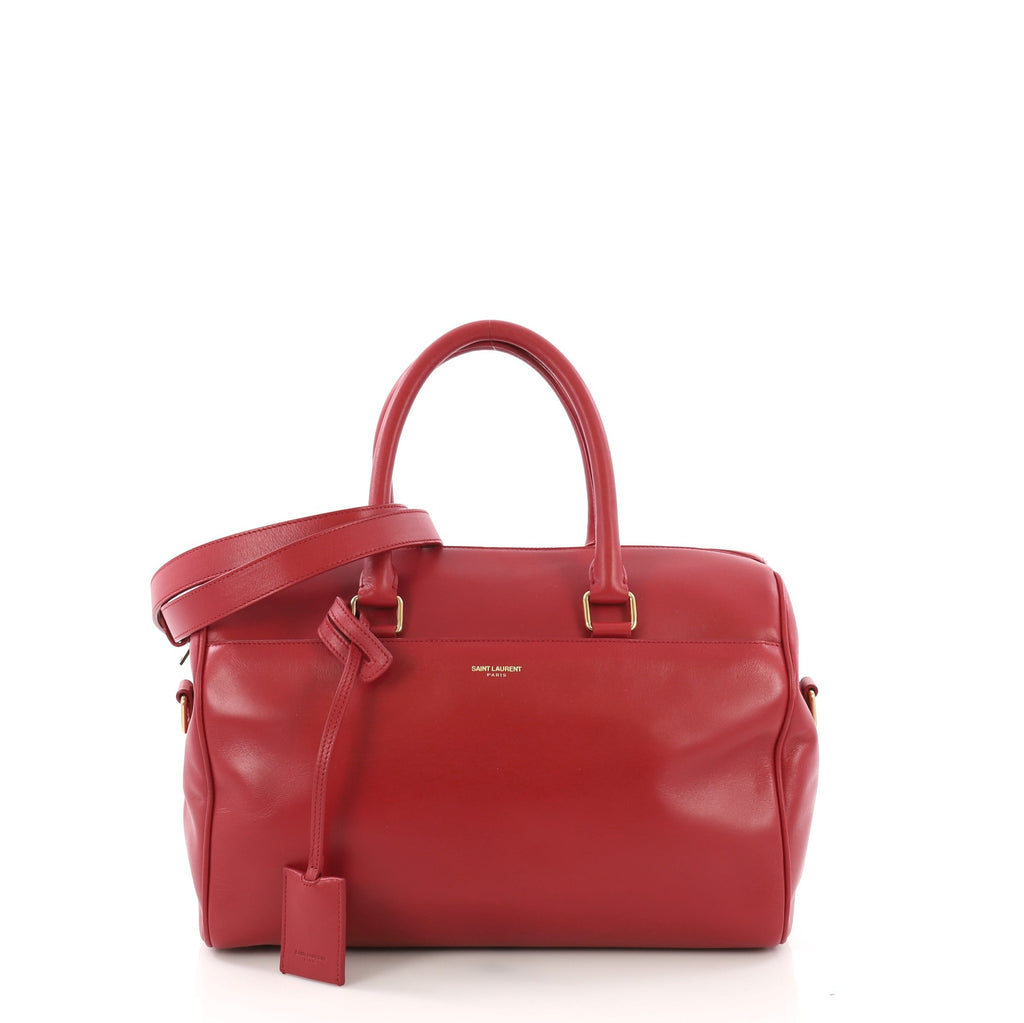4cd677e5b744 Saint Laurent Classic Duffle Bag Leather 6 Red 386312 – Rebag
