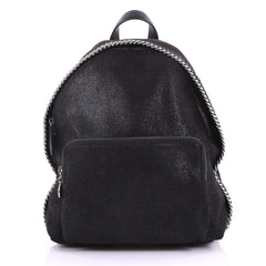Stella McCartney Falabella Front Zip Backpack Shaggy Deer Mini Black 386371