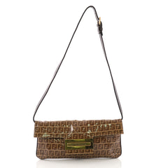 Fendi Convertible Clutch Zucchino Coated Canvas Brown 386444