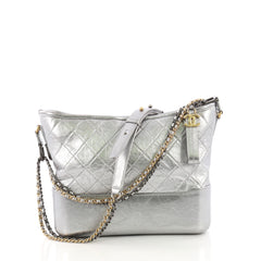 Chanel Gabrielle Hobo Quilted Aged Calfskin Medium Silver 386632