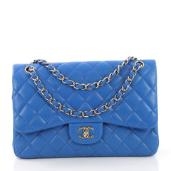 Chanel Model: Classic Double Flap Bag Quilted Lambskin Jumbo Blue 38665/4