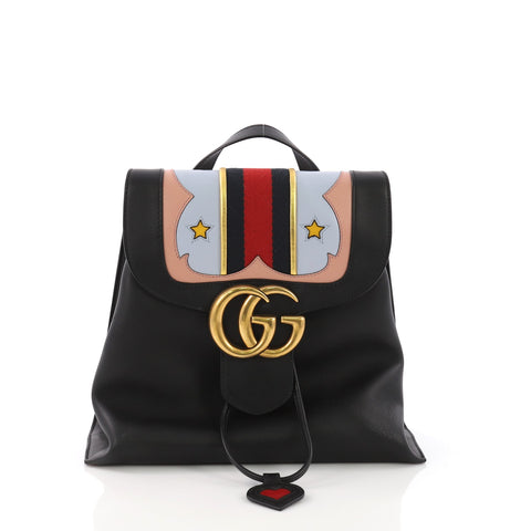 9f02c0916fca Gucci Web Heart GG Marmont Backpack Leather Black 386842 – Rebag