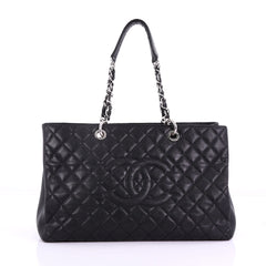 Chanel Grand Shopping Tote Quilted Caviar XL Black 386844