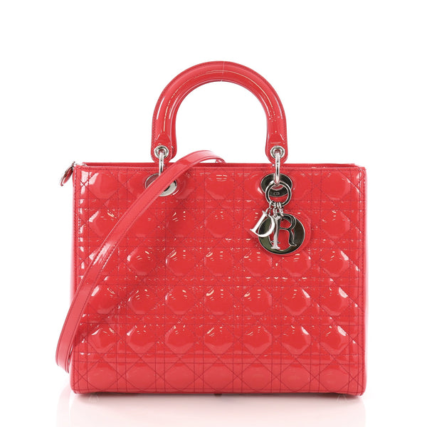 a3aa76df76ee Christian Dior Lady Dior Handbag Cannage Quilt Patent Large Red – Rebag