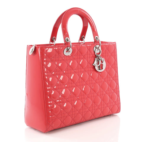 Christian Dior Lady Dior Handbag Cannage Quilt Patent Large Red – Rebag b745260fa2b88