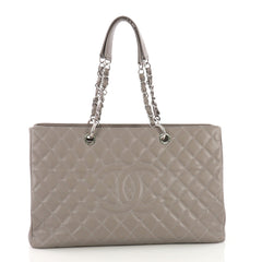 Chanel Grand Shopping Tote Quilted Caviar XL Gray 386846