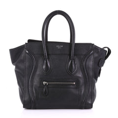 Celine Luggage Handbag Grainy Leather Micro Black 386847