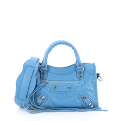 Balenciaga City Classic Studs Handbag Leather Mini Blue 387021