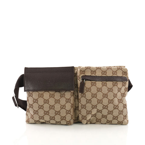 03b764c4fcd1 Gucci Vintage Double Belt Bag GG Canvas Neutral 3873212 – Rebag