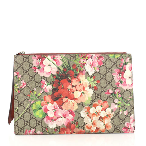 ee9631a1ae1d73 Gucci Zipped Pouch Blooms Print GG Coated Canvas Large Brown 387531 – Rebag