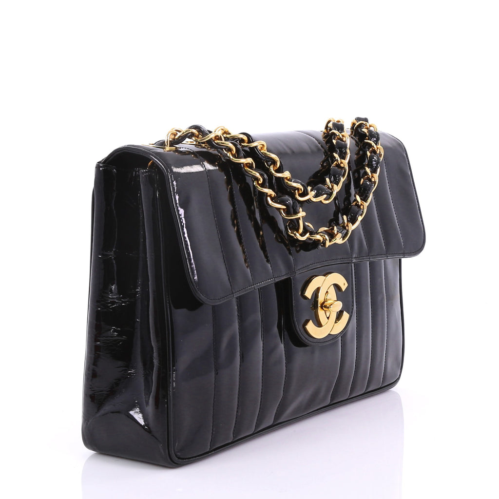 842c389fa8c Buy Chanel Vintage CC Chain Flap Bag Vertical Quilted Patent 387941 ...