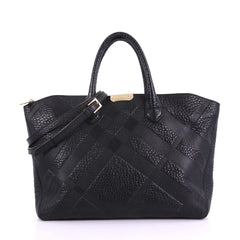 Burberry Dewsbury Convertible Tote Check Embossed Leather 387991