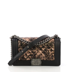 Chanel Boy Flap Bag Quilted Metallic Crumpled Goatskin Old Medium Black 388349