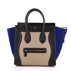 Celine Tricolor Luggage Handbag Leather Mini Black 3884705