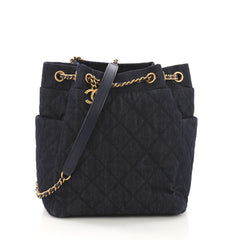 Chanel Urban Spirit Drawstring Bag Quilted Denim Small Blue
