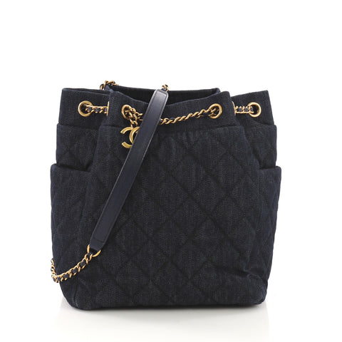 f8e17f62af10 Chanel Urban Spirit Drawstring Bag Quilted Denim Small Blue 388793 – Rebag