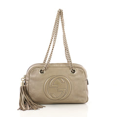Gucci Soho Chain Zipped Shoulder Bag Leather Small Gold