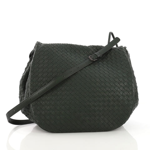 97a9ed7c180f Bottega Veneta Flap Messenger Bag Intrecciato Nappa Medium Green – Rebag