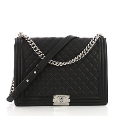 Chanel Boy Flap Bag Quilted Caviar Large Black 389055
