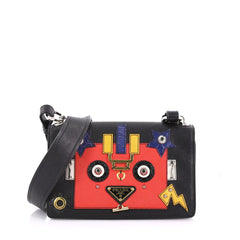 Prada Robot Flap Shoulder Bag Mixed Media Leather Small 389057