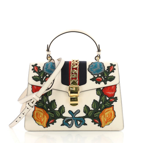 5d2f5b770072 Gucci Sylvie Top Handle Bag Embroidered Leather Medium White 389082 – Rebag