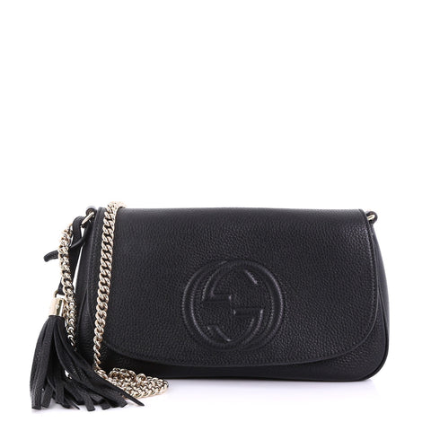 4a6cf757d Gucci Soho Chain Crossbody Bag Leather Medium Black 389121 – Rebag