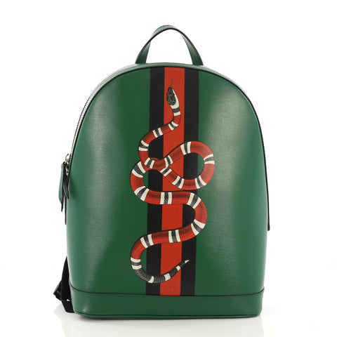 11071b05528d Gucci Web and Snake Backpack Printed Leather Green 389321 – Rebag