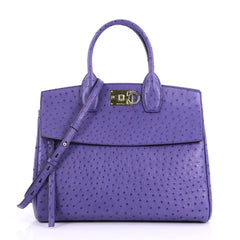 Salvatore Ferragamo Studio Satchel Ostrich Medium Purple 389454