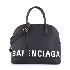 Balenciaga Ville Logo Bag Leather Medium Black 389571