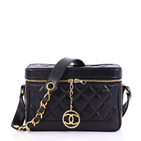 71dfb19fed5c Chanel Vintage CC Charm Camera Bag Quilted Lambskin Small Black – Rebag
