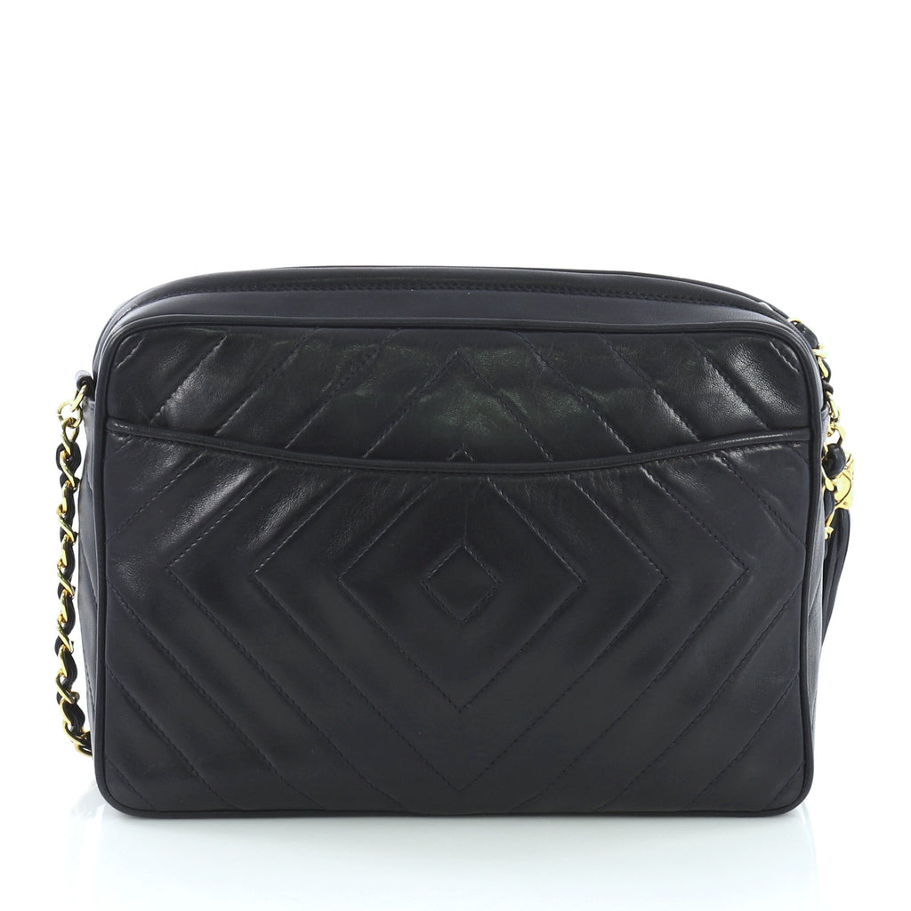 491088f47466 Chanel Vintage Diamond CC Camera Bag Quilted Leather Small Blue – Rebag
