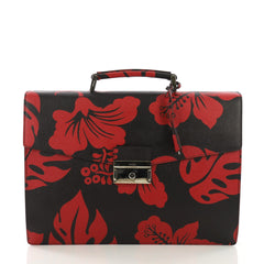 Prada Key Lock Briefcase Printed Saffiano Leather Large 389711