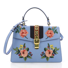 Gucci Sylvie Top Handle Bag Embroidered Leather Medium Blue 3898210