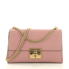Gucci Padlock Shoulder Bag Leather Medium Pink 389827