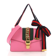 Gucci Sylvie Shoulder Bag Leather Small Pink 389828