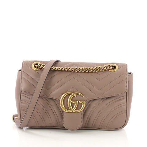 1ae13723baa1 Gucci GG Marmont Flap Bag Matelasse Leather Small Neutral 3899201 – Rebag