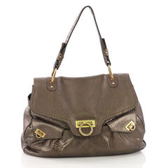 Salvatore Ferragamo Gancini Top Handle Bag Python Large 390021 c3a06f5fee999