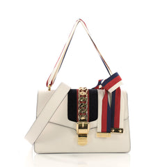 75100b7f6ac8 Gucci Sylvie Shoulder Bag Leather Small White 390141