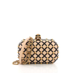 Alexander McQueen Skull Box Clutch Studded Leather Cut 390285