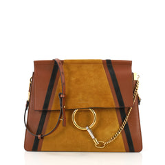 Chloe Faye Patchwork Shoulder Bag Suede and Leather 390441