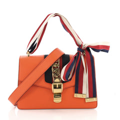 Gucci Sylvie Shoulder Bag Leather Small Orange 390721
