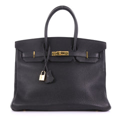 Hermes Birkin Handbag Black Togo with Gold Hardware 35 390749