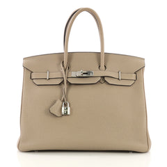 Hermes Birkin Handbag Grey Togo with Palladium Hardware 35 390901