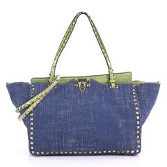 Valentino Rockstud Tote Denim Medium Blue 390932