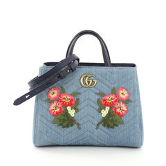 Gucci GG Marmont Tote Embroidered Matelasse Denim Small 3910816