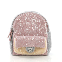 Chanel Model: Waterfall Backpack Sequins with Leather Mini Puprle 39108/32