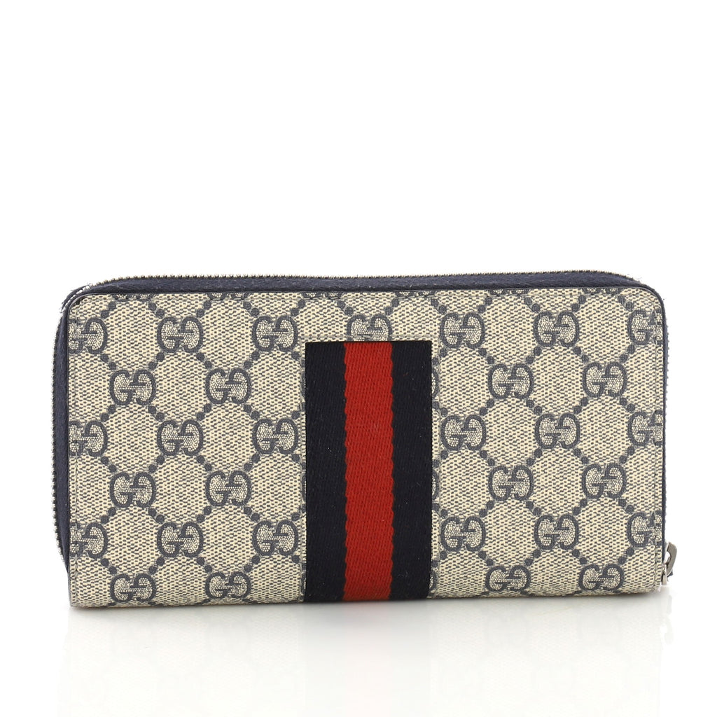 68618d61b86d Gucci Web Zip Around Wallet GG Coated Canvas Blue 391098 – Rebag
